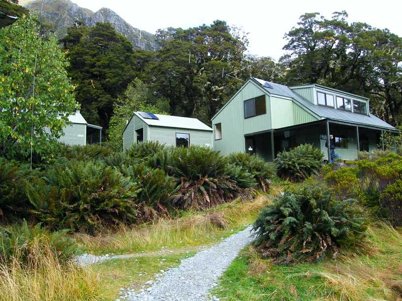 chata u Routeburn track - Nový Zéland